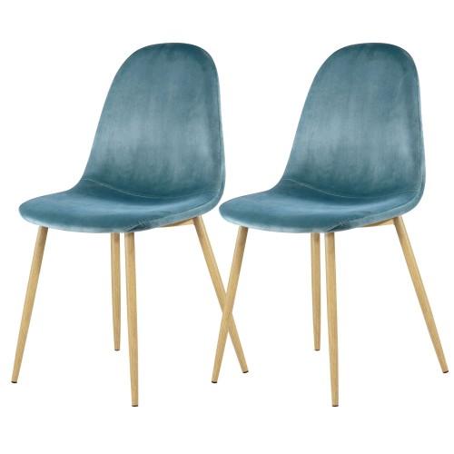 Chaise Fredrik en velours bleu turquoise (lot de 2)