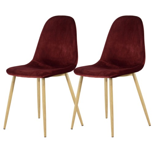 Chaise Fredrik en velours bordeaux (lot de 2)