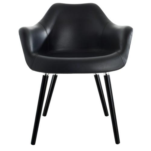 Chaise Anssen en cuir synthétique noir