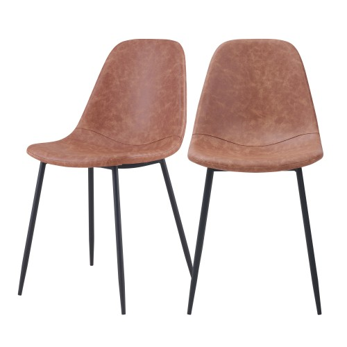 acheter chaise taupe en simili cuir lot de 2