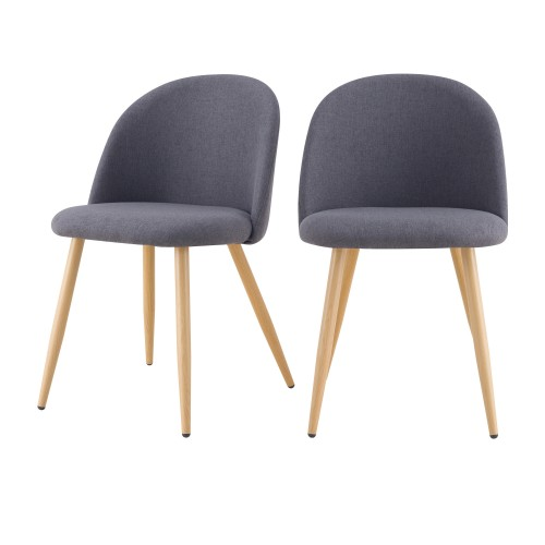 acheter chaise tissu gris fonce scandinave lot de 2