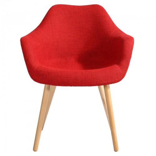 chaise anssen tissu rouge