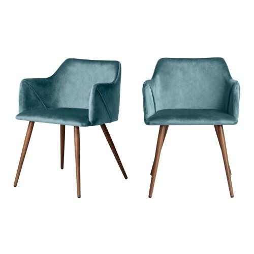 acheter chaise velours bleu lot de 2