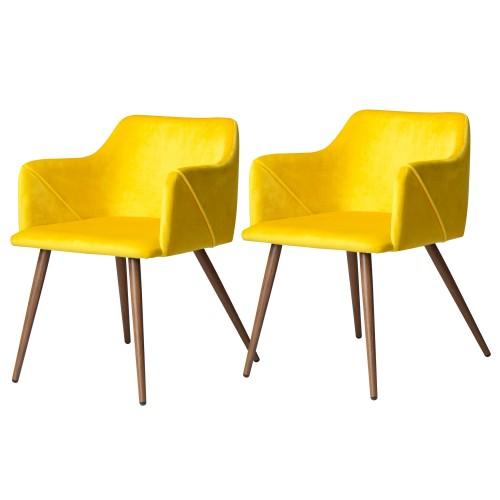 Chaise Daisy en velours jaune (lot de 2)