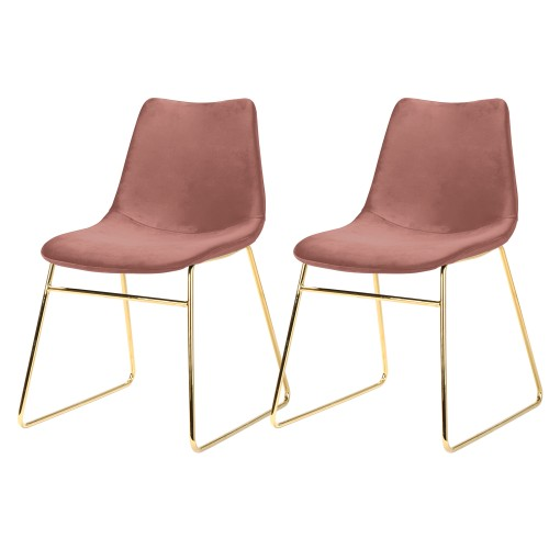 Chaise Gaspard en velours rose  (lot de 2)
