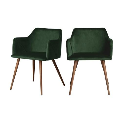 acheter chaise velours vert fonce lot de 2