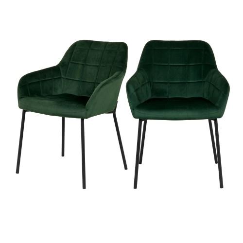 acheter chaise verte design avec accoudoirs lot de 2