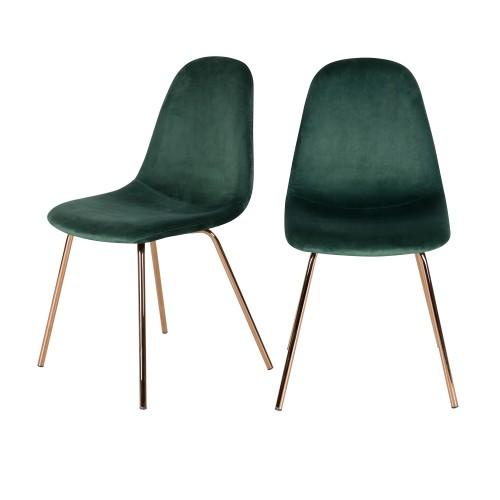 acheter chaise verte pieds metal rose lot de 2