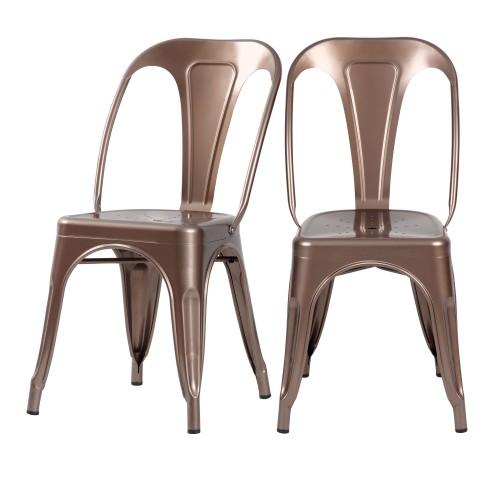 acheter chaises cuivre industrielles lot de 2