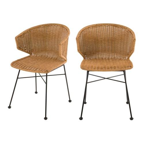 acheter chaises en resine couleur naturelle lot de deux