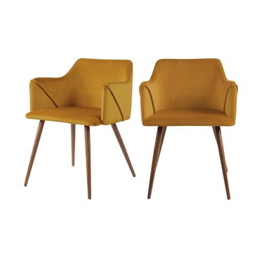 acheter chaises jaune velours lot de 2
