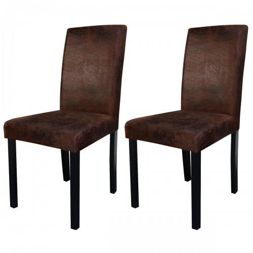 chaise en tissu vieilli marron design