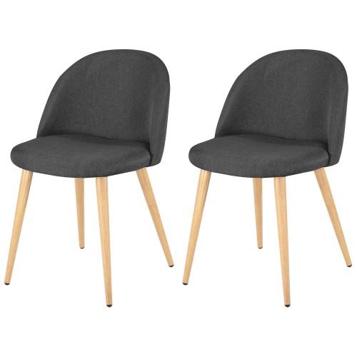 acheter lot de 2 chaises tissu grises