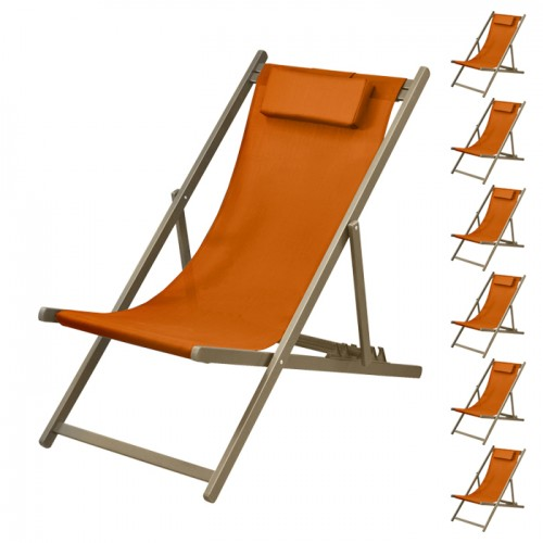Chaise longue Calvi orange châssis taupe (lot de 6)
