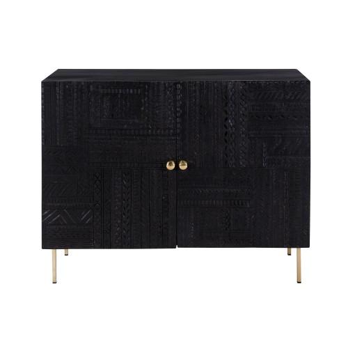 acheter commode 2 portes en bois noir