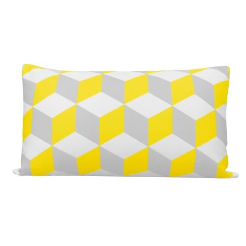 acheter coussin rectangulaire jaune et gris