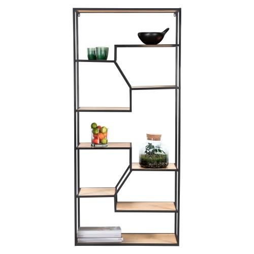 acheter etagere bois clair et noir metal