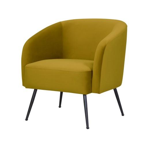 acheter fauteuil assise en velours jaune pieds metal