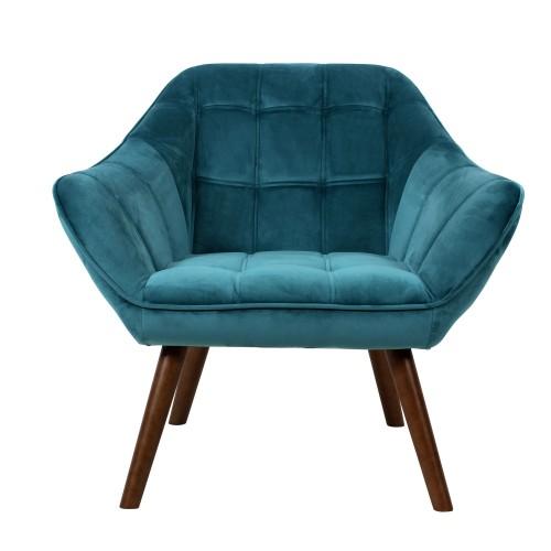 acheter fauteuil bleu velours