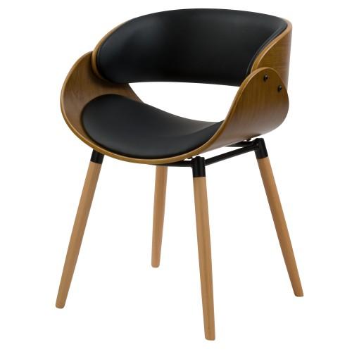 acheter fauteuil en bois et cuir synthetique noir
