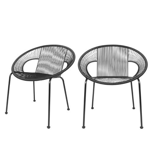 acheter fauteuil en resine tresse noire lot de deux