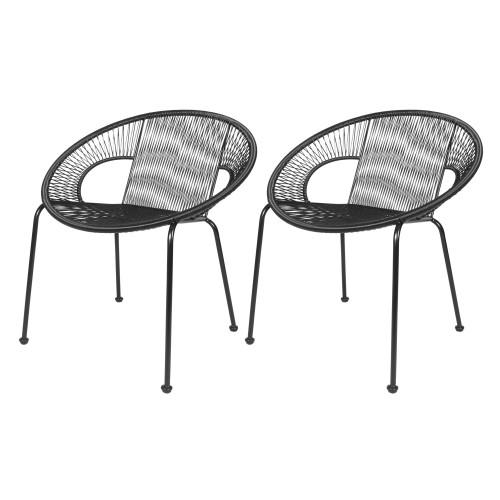 acheter fauteuil en resine tresse noire