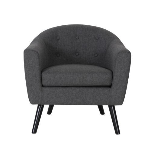 acheter fauteuil gris fonce en tissu pieds bois noir