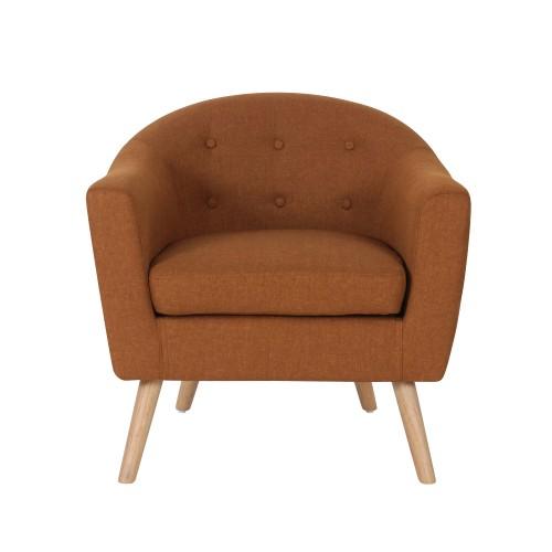 acheter fauteuil orange en tissu pieds bois clair
