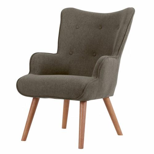 acheter fauteuil tissu gris fonce pieds bois