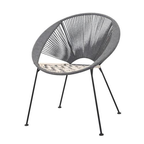 acheter fauteuil tresse en coton gris