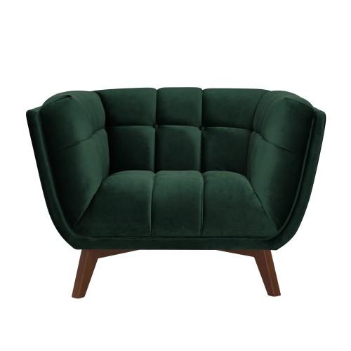 acheter fauteuil vert fonce pieds bois fonce