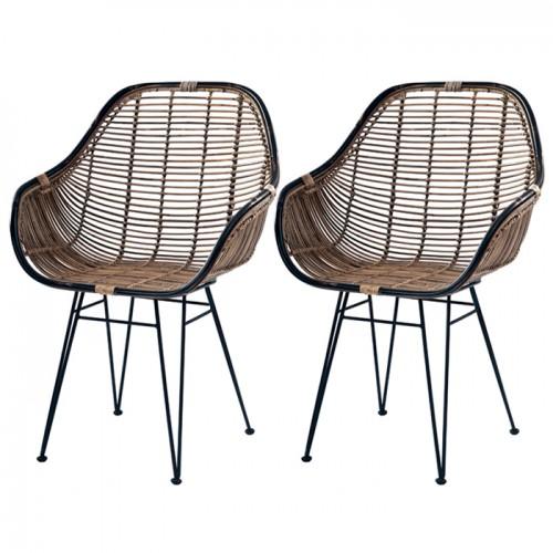 acheter fauteuils lot de 2 rotin fonce noir