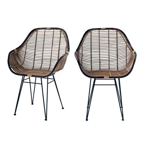 acheter fauteuils rotin fonce noir lot de 2