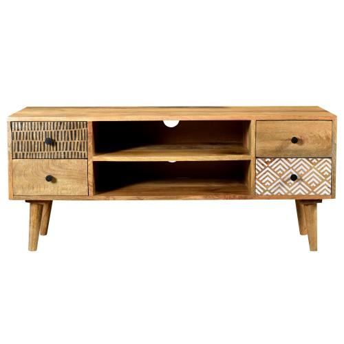 Meuble TV Tali en bois 2 niches 4 tiroirs