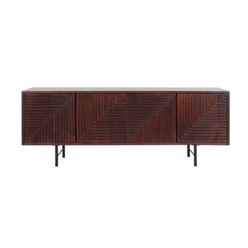 acheter meuble tv en bois de manguier fonce
