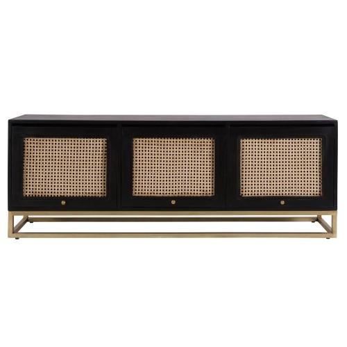 acheter meuble tv en bois noir et cannage