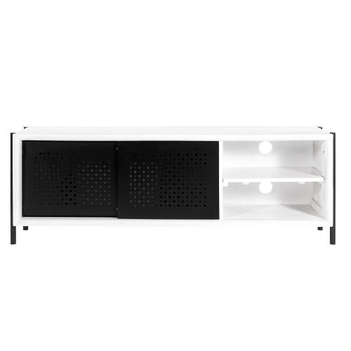 acheter meuble tv en bois peint blanc