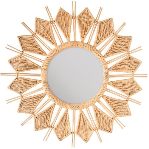 acheter miroir en rotin natuel ethnique