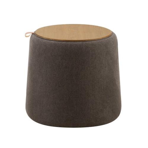 acheter pouf gris en tissu et bois
