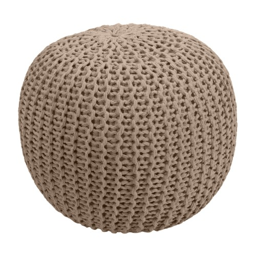 acheter pouf rond taupe en tricot