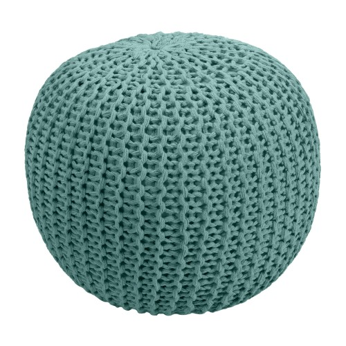 acheter pouf tricot rond vert celadon