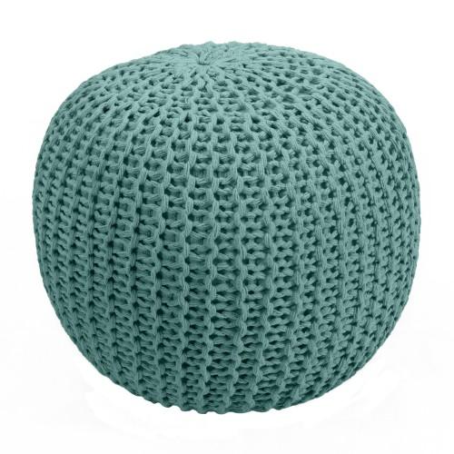 acheter pouf tricot vert celadon