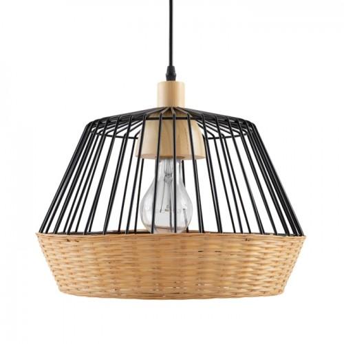 acheter suspension en metal noir et bambou