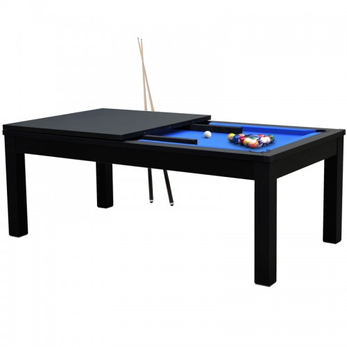 Table de Billard rectangulaire convertible noire tapis bleu