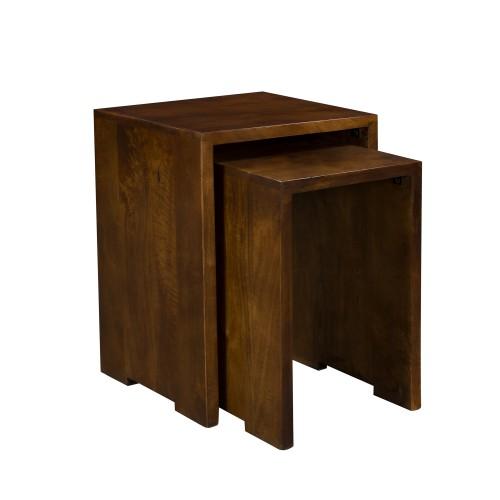 Table basse gigogne Tagada en bois foncé