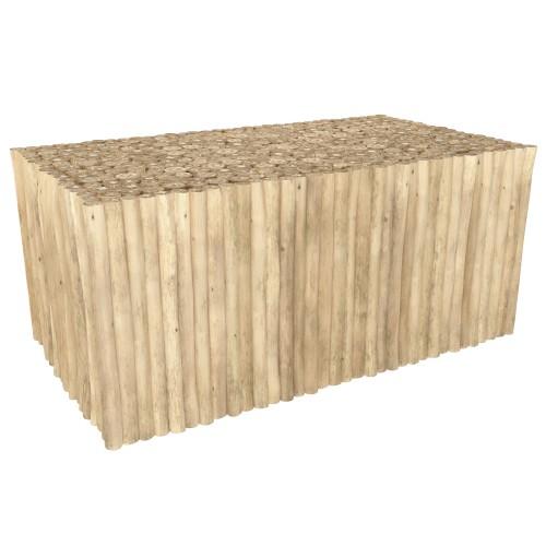 acheter table basse en teck rectangulaire clair
