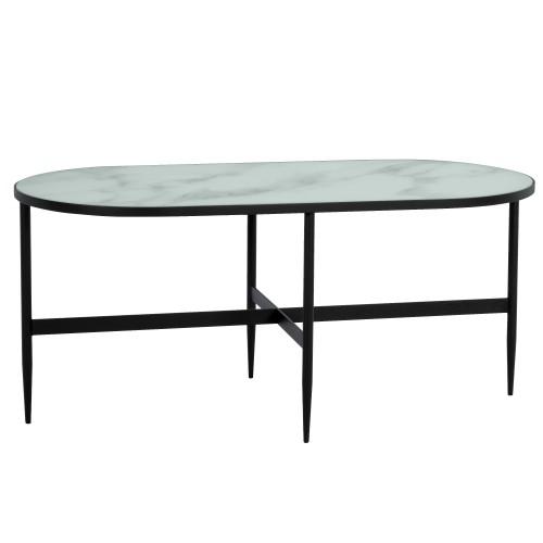 acheter table basse ovale effet marbre noir