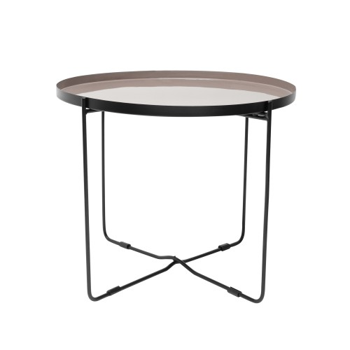 acheter table basse ronde taupe noir