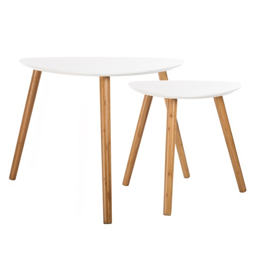 Table basse Scandinave blanche (lot de 2)