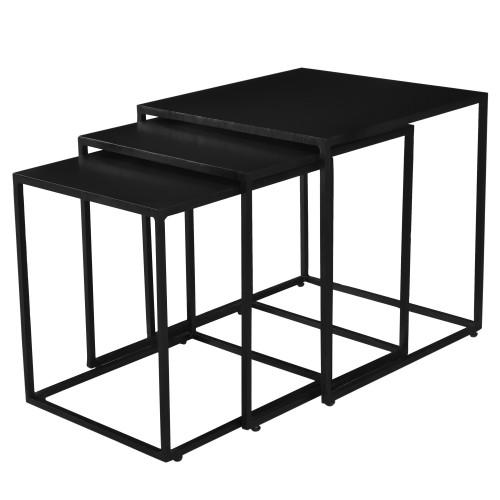 Table basse gigogne Leela carrée en métal (lot de 3)